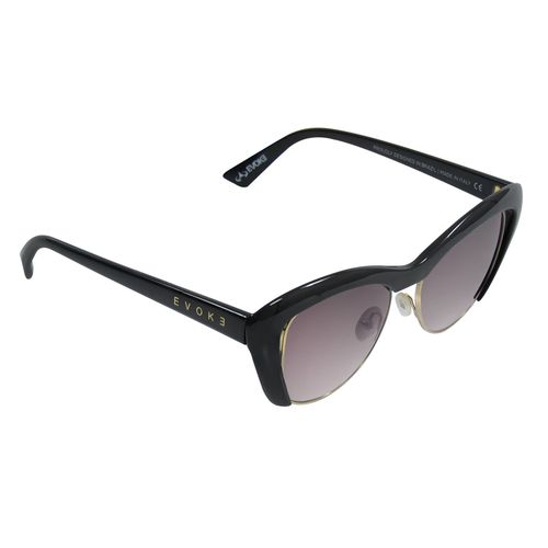 Oculos-Evoke-Cat-City-Preto-Brilho-Lente-Marrom-Gradiente